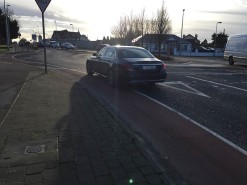 The angles and lack of segregation results in most motorists cutting through the cycle lane